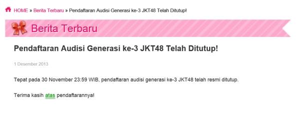 Audisi Gen3 ditutup